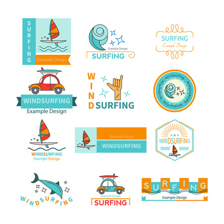 Vector label design template for Windsurfing Center or travel agencies windsurfing. For outdoor enthusiasts of the sea and an active lifestyle. Family summer vacation. Illustration