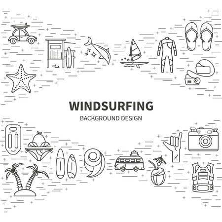 active lifestyle: Vector set of icons line for windsurfing. Board with a sail, wetsuit, surfboard, wave, sail. For outdoor enthusiasts of the sea and an active lifestyle. Family summer vacation. Illustration