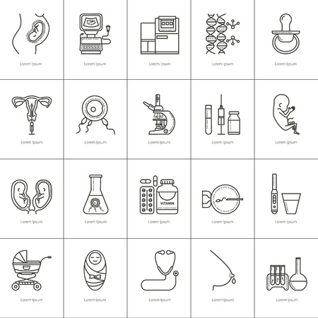 insemination: Set obstetrics and pregnancy, in vitro fertilization. Flat line vector icons. Gynecology, fertility, birth of a child health symbols. test for pregnancy, the fetus, the uterus, the embryo.
