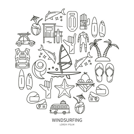 wetsuit: Vector set of icons line for windsurfing. Board with a sail, wetsuit, surfboard, wave, sail. For outdoor enthusiasts of the sea and an active lifestyle.  The icons in the form of circle
