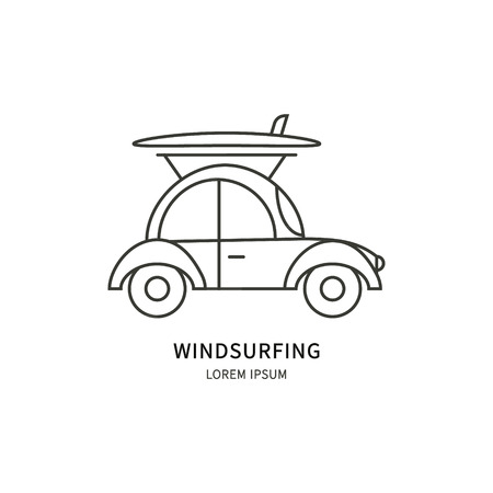 Windsurfing. Linear Vector label design for windsurfing. Isolated background