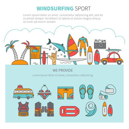 Vector set of icons line for windsurfing. Board with a sail, wetsuit, surfboard, wave, sail. For outdoor enthusiasts of the sea and an active lifestyle. Family summer vacation. Illustration
