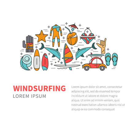 sailboard: Vector set of icons line for windsurfing. Board with a sail, wetsuit, surfboard, wave, sail. For outdoor enthusiasts of the sea and an active lifestyle. Family summer vacation. Illustration