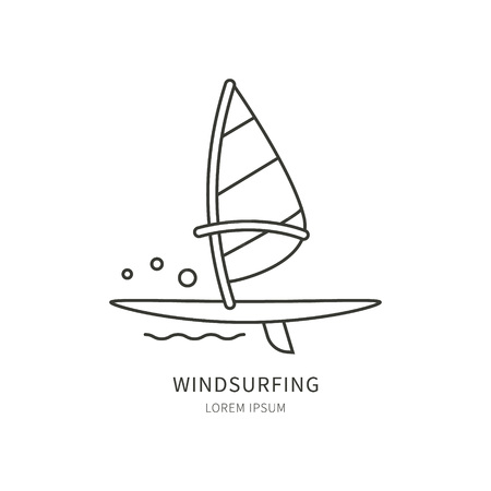 windsurf: Windsurfing. Linear Vector label design sail and windsurf board. Isolated background. Concept of an active summer holiday. Family holiday