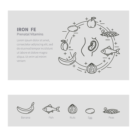 customizable: Feeding pregnant. Vector set in the trendy linear style. The concept of healthy eating. Prenatal vitamins. The template is easily customizable Illustration