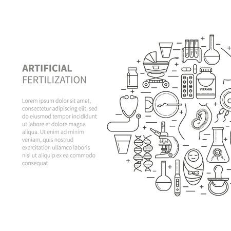 in vitro: Set obstetricia y el embarazo, la fertilización in vitro. Iconos del vector de línea plana. Ginecología, fertilidad, nacimiento de un niño símbolos salud. prueba de embarazo, el feto, el útero, el embrión.