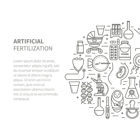 fertilisation: Set obstetrics and pregnancy, in vitro fertilization. Flat line vector icons. Gynecology, fertility, birth of a child health symbols. test for pregnancy, the fetus, the uterus, the embryo.