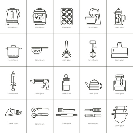 cooking utensils: Set of kitchen utensils and items for baking. Cookware. Icons in a linear style. Kitchenware. Modern design Illustration