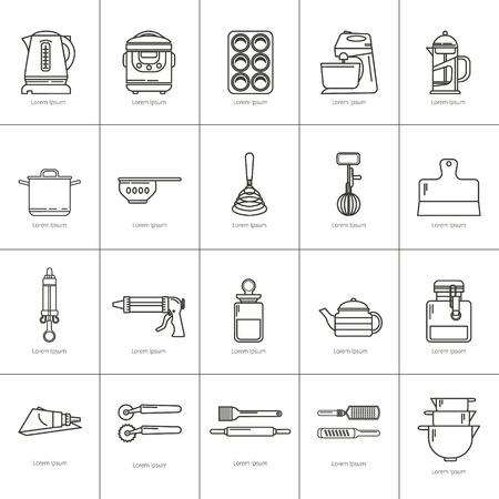 Set van keukengerei en items voor het bakken. Kookgerei. Pictogrammen in een lineaire stijl. Keukengerei. modern design