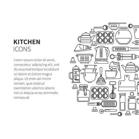 Set of kitchen utensils and items for baking. Cookware. Icons in a linear style. Kitchenware. Modern design