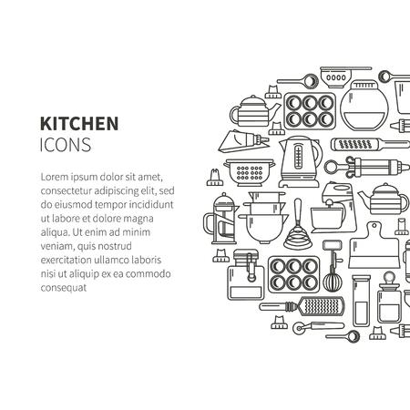 Set di utensili da cucina e articoli per la cottura. Stoviglie. Icone in uno stile lineare. Utensili da cucina. Design moderno
