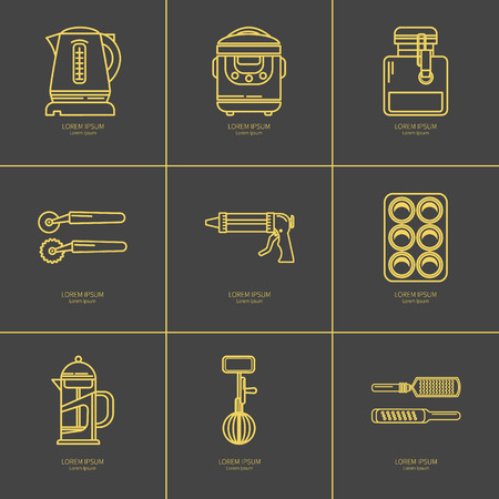 baking dish: Set of kitchen utensils and items for baking. Cookware. Icons in a linear style. Kitchenware. Modern design Illustration