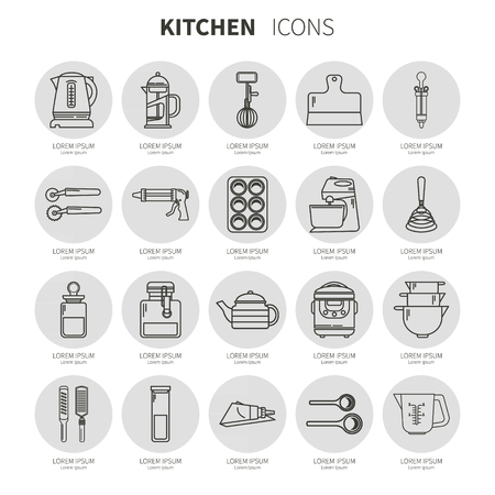 substrate: Set of kitchen utensils and items for baking. Cookware. Icons in a linear style. Kitchenware. Icons on the substrate Illustration