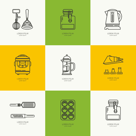 measuring cup: Set of kitchen utensils and items for baking. Cookware. Icons in a linear style. Kitchenware. Modern design Illustration