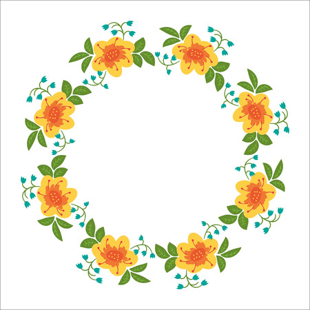 card making: Summer card with floral wreath. The frame can be used as card making, wedding invitations, birthday or other celebration