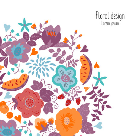 card making: Greeting card with summer flowers. Illustrations can be used as card making, wedding invitations, birthday or other celebration, as well as banner.