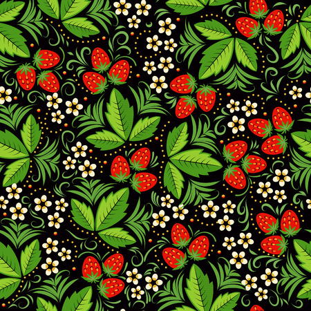 russian pattern: Seamless pattern with strawberries in Russian national style hohloma