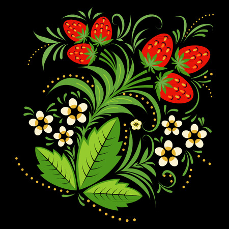 single object: Strawberries painting element in Russian folk style hohloma. Large, single object on a black background.