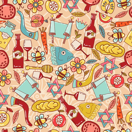 jewish faith: Seamless pattern with the Jewish New Year holiday symbols. Honey, apples, pomegranate, chauffeur, bread.