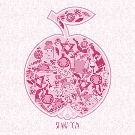 apple and honey: Hashanah Jewish New Year celebration card. holiday attributes arranged in the shape of an apple. Honey, bread, pomegranate. Shana Tova
