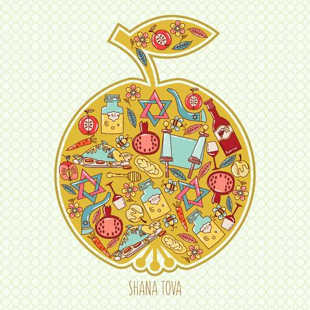 shana: Hashanah Jewish New Year celebration card. holiday attributes arranged in the shape of an apple. Honey, bread, pomegranate. Shana Tova