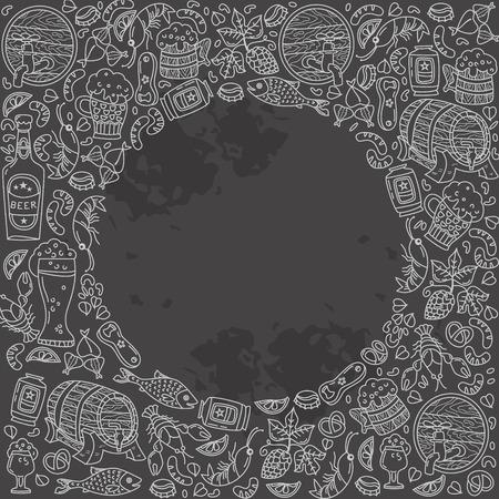 Unique Oktoberfest illustration. Barrel, mug, beer, cancer, hops and other characters. Illusztráció