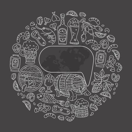 Unique Oktoberfest illustration. The barrel, mug, beer, cancer, hops and other characters.