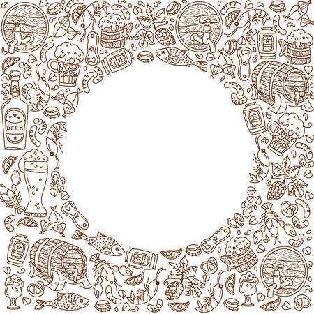 Unique Oktoberfest illustration. Barrel, mug, beer, cancer, hops and other characters. Çizim