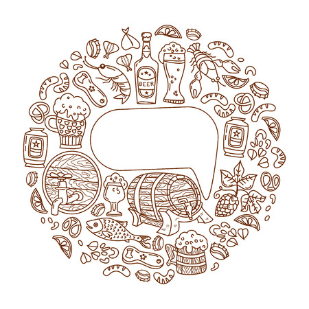 room for your text: Unique Oktoberfest illustration. The barrel, mug, beer, cancer, hops and other characters. Vector hand-drawn doodles. With room for your text. Illustration