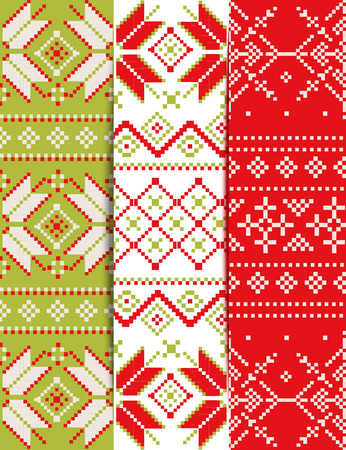 scandinavian winter: Set of bright Christmas pixel patterns. Styling Scandinavian embroidery. Knitted winter background.  Ideal for Christmas background, greeting cards, invitations.