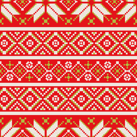 Winter seamless pixel pattern. Pastiche Scandinavian embroidery ornament. Knitted Christmas ornament. Illustration