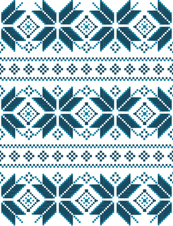scandinavian winter: Winter seamless pixel pattern. Pastiche Scandinavian embroidery ornament. Knitted Christmas ornament. Illustration