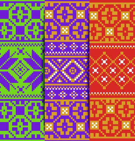 Set Of Bright Christmas Seamles Pixel Patterns Styling Scandinavian