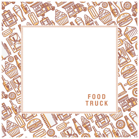 Background food truck. Elements are in linear style. Ideal for design of cards, postcards, banners, packaging.