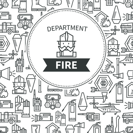 conflagration: Banner Fire Department. Logo firefighter in a helmet. Illustration
