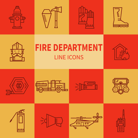 conflagration: Set icons outline fire safety. Flame, truck, fire extinguisher, firefighter. Suitable for banners, business cards, web sites Illustration