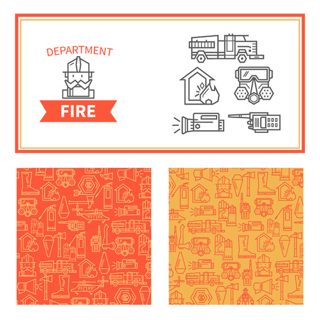 conflagration: Set of elements for design fire protection concept. Linear icons and templates for banners.