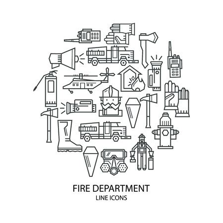 conflagration: Set of linear icons on fire safety. Fire, fire extinguisher. Icons are placed in the shape of circle.