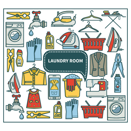 laundry room: Laundry room icon set in linear style. Washing machine, laundry basket, iron. Cleaning concept, dry cleaning.