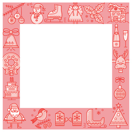 the children s: The square frame with symbols of Christmas Santa Claus, Reindeer, Angel. Ideas for children s photo frames, banner Illustration