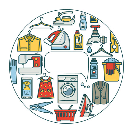 Cleaning business. Laundry, dry cleaning, service elements, washing machine, laundry basket. Design elements are arranged in a circle. Illustration