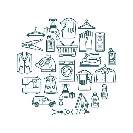 washhouse: Cleaning business. Laundry, dry cleaning, service elements, washing machine, laundry basket. Design elements are arranged in a circle. Illustration