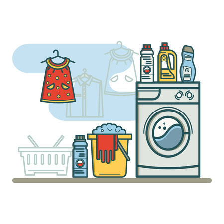 washhouse: Laundry room with laundry facilities. Washing machine, laundry basket, detergent. Linear style vector illustration.