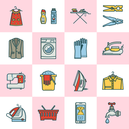 laundry room: Laundry room icon set in linear style. Washing machine, laundry basket, iron. leaning concept, dry cleaning.
