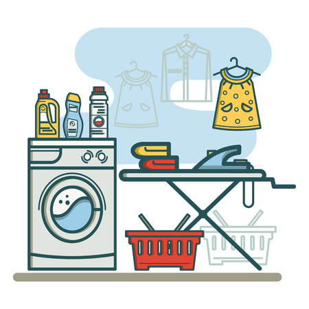 laundry room: Laundry room with washing machine and ironing board, laundry detergent, laundry detergent, and a basket. Linear style vector illustration.