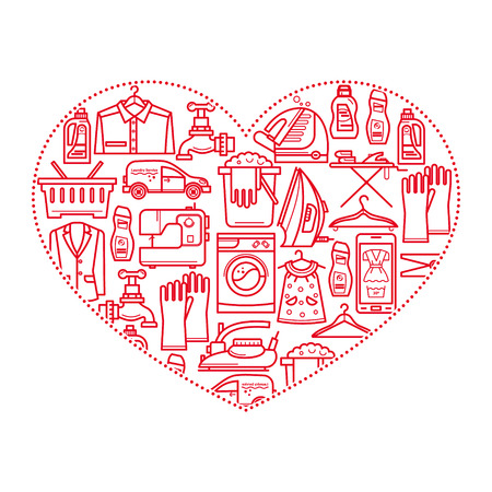 dirty house: Cleaning business. Laundry, Dry Cleaning, with symbols, washing machine, laundry basket. Design elements are arranged in a heart shape Illustration