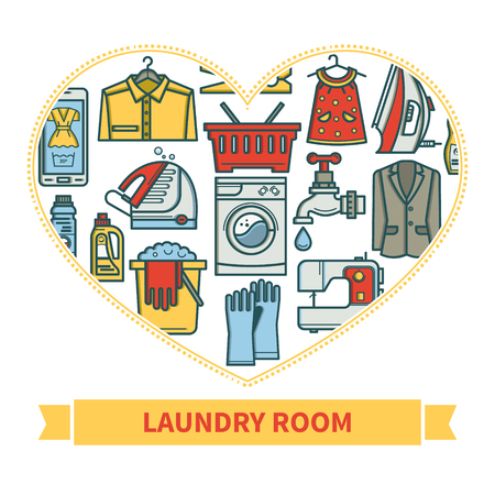 Cleaning business. Laundry, Dry Cleaning, with symbols, washing machine, laundry basket. Design elements are arranged in a heart shape Illustration