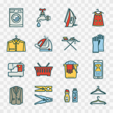 laundry room: Stickers Laundry room set in a linear style. Washing machine, laundry basket, iron. Cleaning concept, dry cleaning. Illustration