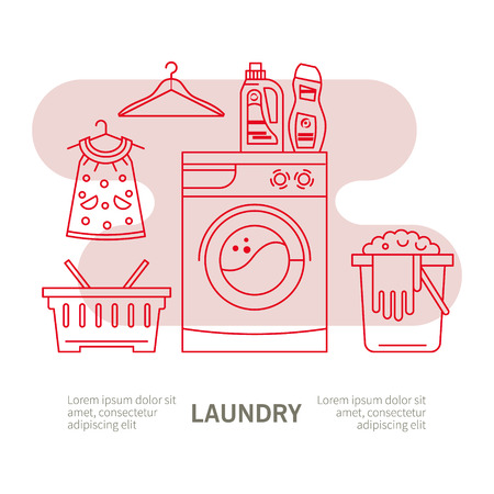 laundry detergent: Illustration laundry - washing machine, laundry basket, laundry detergent made in fashionable style vector lines. Graphics for posters, banners, websites.