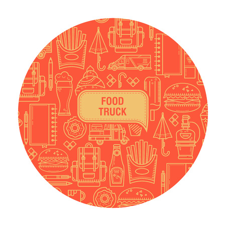 Background food truck. Elements are in linear style. Ideal for design of cards, postcards, banners, packaging. Illustration
